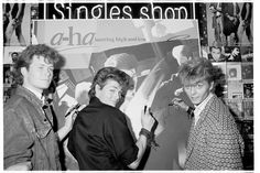 a-ha were instore to meet fans and sign copies of their album 'Hunting High And Low' hmv 363 Oxford Street, London - January 1986
