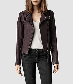 Womens Alford Leather Biker Jacket (Deep Burgundy) - product_image_alt_text_1