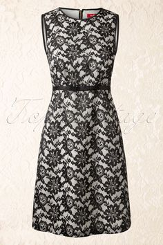 30s Perturbation Lace Dress in Black