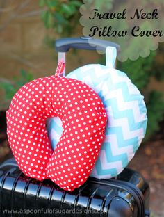 The cutest Travel Neck Pillow Cover from A Spoonful of Sugar! Happy Traveling!