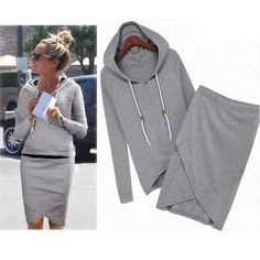 New Band HIgh Quality 1PC Fashion Women Hoodie Long Sleeve Tops Blouse +Irregular Skirt Set