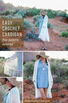 This long lacy boho crochet cardigan comes together easily with simple stitches (and it's almost seamless!) Add the pockets and enjoy it year round! Free pattern that includes plus sizes. Boho Crochet Patterns, Crochet Patterns For Beginners, Crochet Designs, Sewing Patterns, Skirt Patterns, Vogue Patterns, Vintage Patterns, Crochet Simple, Modern Crochet