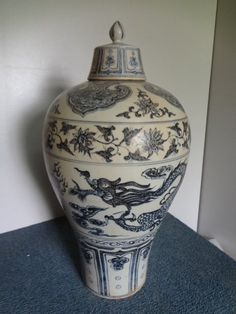 "Yuan Dynasty Underglaze Blue Dragon Meiping H 18 1/2"" with lid"