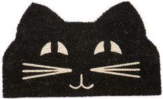 Entryways Cat Face Non Slip Coir Doormat