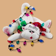 Christmas Cat Kitty with Lights Polymer by PersonalizedOrnament