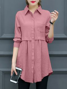 Long Sleeve Casual Pockets Shirt Collar Blouse & Shirt - PopJulia.com Long Shirt Outfits, Long Shirts, Casual Shirts, Long Sleeve Shirts, Long Sleeve Shirt Dress, Long Sleeve Tops, Collar Blouse, Blouse Outfit, Collar Shirts