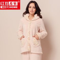 women's autumn and winter sleepwear thickening coral fleece pajama sets free shipping $82.50