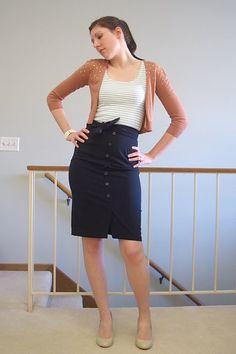 navy button-up skirt DIY