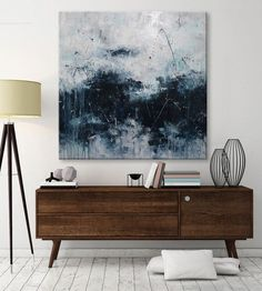 large abstract seascape painting palette knife white blue black turquoise contemporary wall art Elena