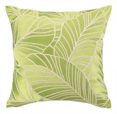 Zoom Price: $149.99  Transport your seaside room back to your favorite vacation.    This Hanalei Green Leaf coastal décor pillow is intricat...