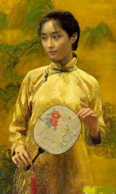 陈逸鸣油画作品:仕女系列-2 -  纸扇 1999年作 作品尺寸:120*61cm