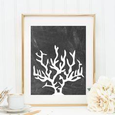 Coral Print, Chalkboard Print, Chalkboard Wall Art, Nautical Decor, Nautical Prints, Printable Wall Art, Beach House Decor