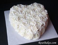 Blue Ombre Buttercream Roses Cake for Beach Wedding - single tier wedding cake - not a heart though.  ;o)