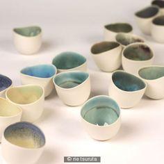 Beautiful Landscape porcelain bowls by Japanese artist Rie Tsuruta