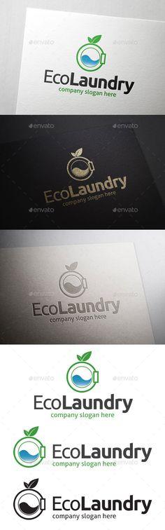 Eco Laundry Logo — Photoshop PSD #wash #green laundry • Available here → https://graphicriver.net/item/eco-laundry-logo/10931283?ref=pxcr