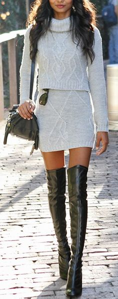 Leather OTK boots. Sweater two piece