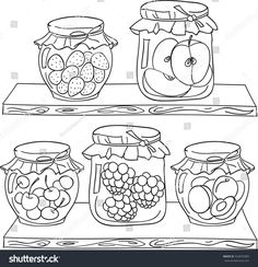 Fruit jam on the wood shelf in a pantry. Coloring book page in doodle style. Food Coloring Pages, Adult Coloring Pages, Coloring Books, Doodle Drawings, Doodle Art, Cute Drawings, Embroidery Applique, Embroidery Patterns, Bullet Journal Ideas Pages