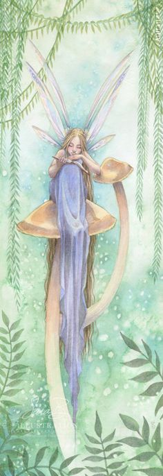 Fairy Reading Book on Golden Mushroom © Sara Burrier (Artist. Des Moines, Iowa, USA) via her etsy shop. ... Promote the Arts. Give credit where due. Pin from the Primary Source.