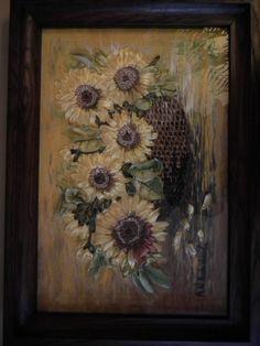 Słoneczniki - haft wstążeczkowy
