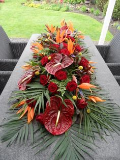 Floral design with tropical flower arrangements, table flower ar Tropical Flowers, Tropical Flower Arrangements, Wedding Flower Arrangements, Deco Floral, Arte Floral, Floral Design, Church Flowers, Funeral Flowers, Tropical Centerpieces