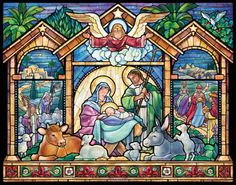 Stained Glass Nativity Advent Calendar | New Religious | Vermont Christmas Co. VT Holiday Gift Shop Artwork by Randy Wollenmann