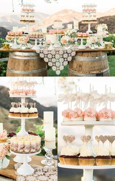 Outdoor Weddings Shabby chic dessert table, rustic desserts, outdoor wedding ideas - Classy Ranch Wedding in Gold and Pink with quirky fun diy details that you just have to see! Wedding Desserts, Wedding Cakes, Wedding Decorations, Rustic Wedding Cupcakes, Cupcake Wedding Display, Rustic Cupcake Display, Wedding Centerpieces, Rustic Candy Bar, Cookie Bar Wedding