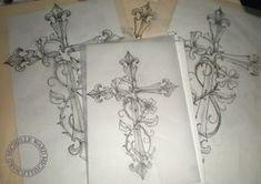 Cross tattoo w flowers Great Tattoos, Beautiful Tattoos, Body Art Tattoos, New Tattoos, Girl Tattoos, Tatoos, Girl Cross Tattoos, Tattoo Son, Back Tattoo