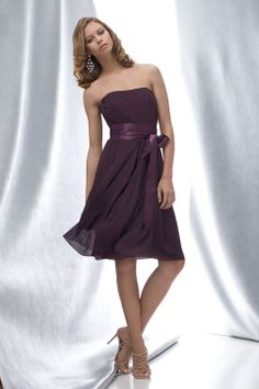 Strapless A-line with ruffle embellishment chiffon bridesmaid dress