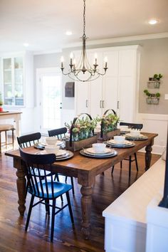 Episode 10 - The Copp House Fixer Upper- Dining Room Inspiration. Wood Farmhouse table with black chairs. Season 3 Episode 1 The Nut House New Kitchen, Kitchen Dining, Kitchen Tables, Farm Tables, Dining Area, Dining Chairs, Kitchen Ideas, Fixer Upper Kitchen, Wood Tables