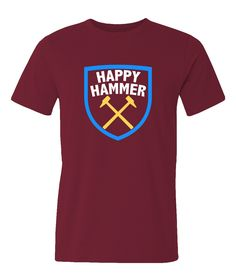West Ham United FC inspired Happy Hammer burgundy t-shirt. by iganiDesign on Etsy
