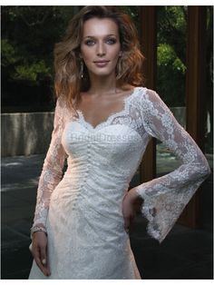 A-line V-neck Long Bell Sleeves White/Ivory Silky Satin Beaded Lace Chapel