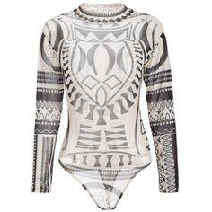 See-Through Print Mesh Bodysuit