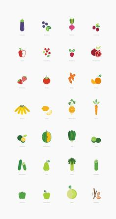 Fruits & vegetables icon series for a local juice bar in Singapore.