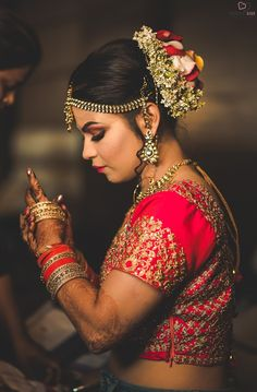 💓We are absolutely in love with this awesome pic, where every single detail from emotions to jewellery are showed in the most beautiful way! 👉Getting married? Shortlist and contact vendors, get inspirations for your wedding absolutely FREE! Indian Bun Hairstyles, Bridal Hair Buns, Wedding Preparation, Blouse Designs, Getting Married, Wedding Events, Most Beautiful, Wedding Photography, Wonder Woman