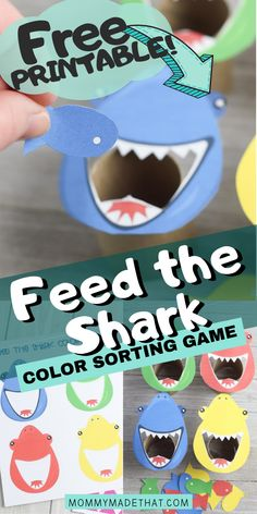 Feed the Shark Game with Free Printable - Feed the shark color sorting game. This is a great shark activity for preschool aged kids! Color Activities For Toddlers, Shark Activities, Shark Games, Cognitive Activities, Preschool Colors, Preschool Learning Activities, Preschool Lessons, Infant Activities, Toddler Preschool