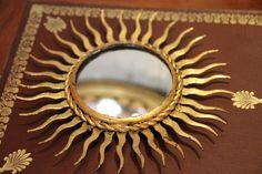 Gold mirror Mirror wall decor Sun mirror Sunshine mirror Sunburst mirror Gold frame Golden frame Gold decor French vintage Wall mirror decor