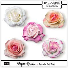 Paper Roses - Pastels Set Two  | CU/Commercial Use #digital #scrapbook #design tools at CUDigitals.com #digitalscrapbooking