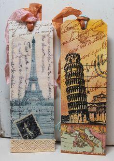 Paris and Pisa bookmarks #paper_crafting #art #collage