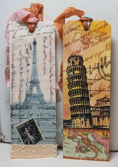 Paris and Pisa bookmarks #paper_crafting #art #collage