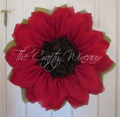 Extra Large Rich Red Burlap Poinsettia Wreath, Burlap Flower, Burlap Sunflower Wreath, Christmas Wreath, Housewarming Gift, Customizable - pinned by pin4etsy.com