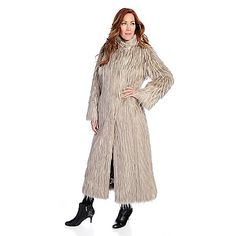 724-838 - Pamela McCoy Black Diamond Tissavel Arctic Fox Faux Fur Hooded Convertible Collar Full-Length Coat