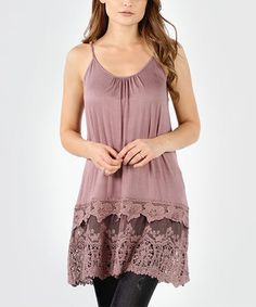 Dark Blush Layered Crochet-Hem Sleeveless Tunic