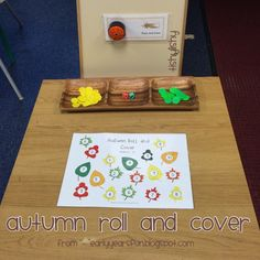 Autumn roll and write game from earlyyearsfun. Eyfs Activities, Autumn Activities, Autumn Eyfs, Maths Area, Ks1 Maths, Numeracy, Phonics For Kids, Maths Display, Math Tables