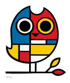OWL - looks like an Own Mondrian would have painted Piet Mondrian, Mondrian Kunst, Mondrian Dress, Owl Art, Art Plastique, Teaching Art, Elementary Art, Famous Artists, Art Education