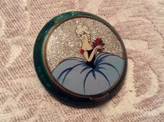 Rare, french,deco silver glitter compact in teal green