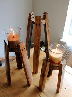 Oak Scotch Whisky Barrel stave candle stands by BeeSpokeBarrels on Etsy