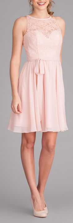 A lace top bridesmaid dress with a short, chiffon skirt. Featured in blush pink. | Kennedy Blue Londyn