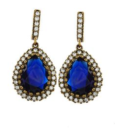 Turkish ottoman Hurrem Sultan classic sapphire earrings