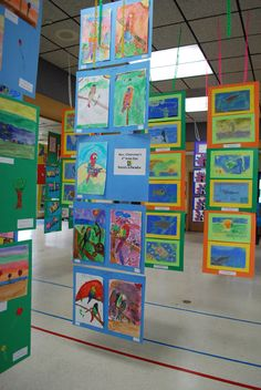 Excellent How-To for a hanging art show! Mount 2 pieces of art to a poasterboard on mat with staples High School Art, Middle School Art, Classe D'art, Ecole Art, School Art Projects, Art Programs, Preschool Art, Art Classroom, Art Activities