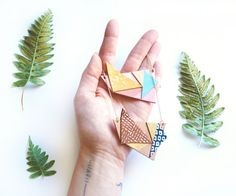 Geometric Origami Cubist Leather necklaces + + + Sustainable Leather Jewelry by Scandinazn